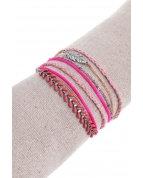bracelet double tours plume épi de blé argent fuchsia