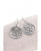 boucle d'oreille crochets cercle fleur argent
