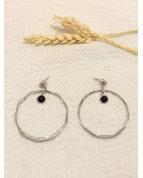 Boucle d'oreille cercle et pierre noire argenté