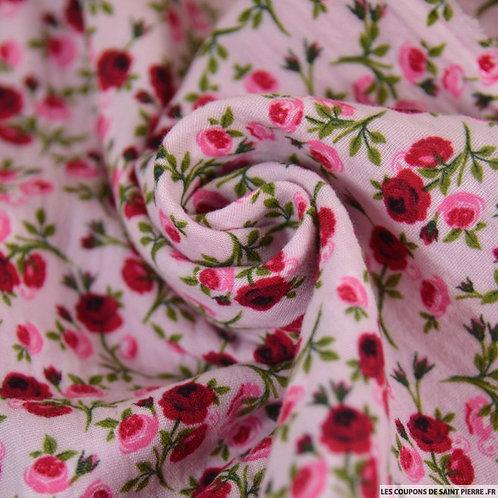 Foulard Double gaze  les roses sur fond rose