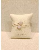 bracelet jonc pierre quartz rose doré