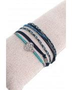 bracelet double tours coeur argent bleu