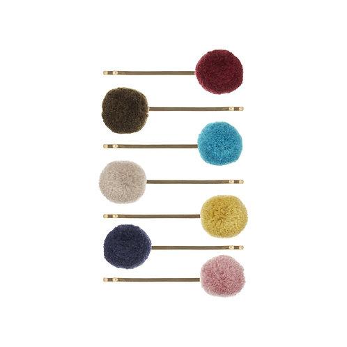 7 Barrettes épingle pompons - Multicolore