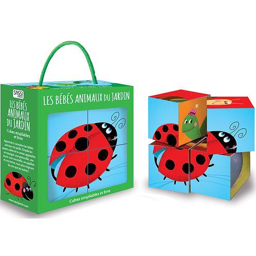 Livre et puzzle cube Les bébés animaux du jardin
