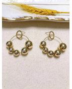 Boucle d'oreille perles doré