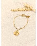 Bracelet rond martelé doré