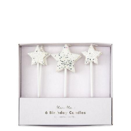 6 bougies étoiles avec paillettes argentées