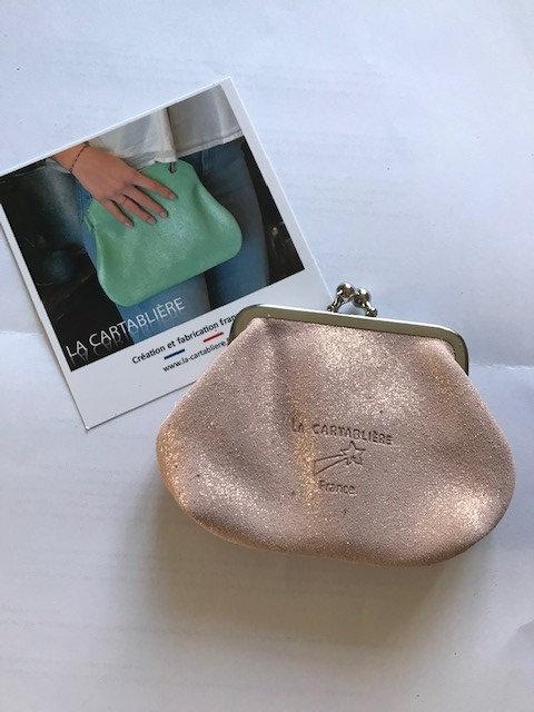 La Cartablière Mini Porte Monnaie Reine en cuir Pailleté Poudré Doré