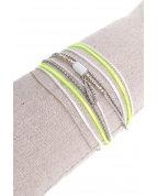 bracelet double tours petite plume argent jaune