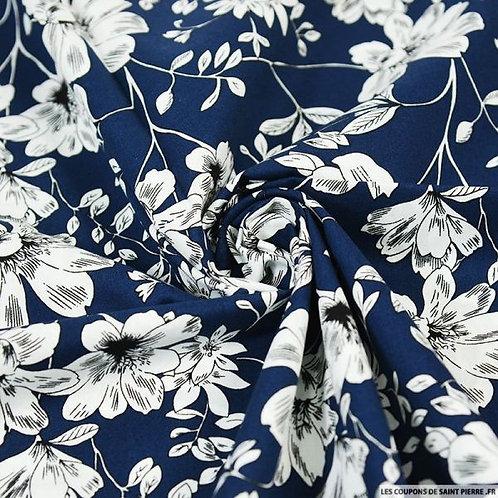 Foulard croquis floraux fond bleu