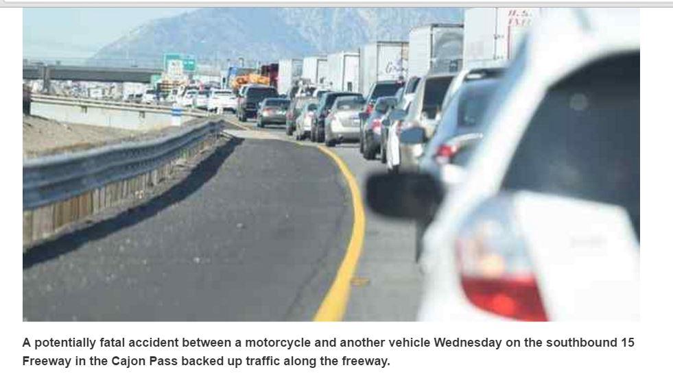 Crash in Cajon Pass snarls traffic for miles