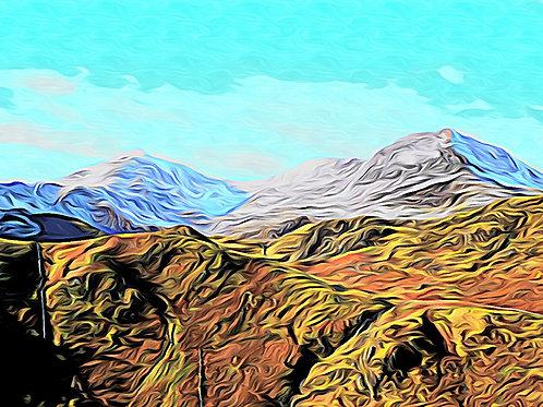 SnowTopped Snowdon Horseshoe Print 6 x 4 inches