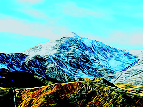 Snow Topped Snowdon Print size 6 x 4 inches