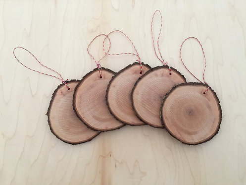 Rustic Christmas ornament Set of 5