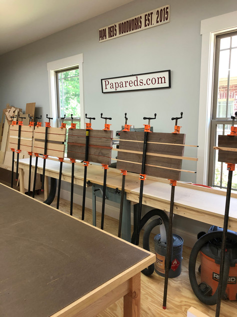 Glue up of cutting boards.