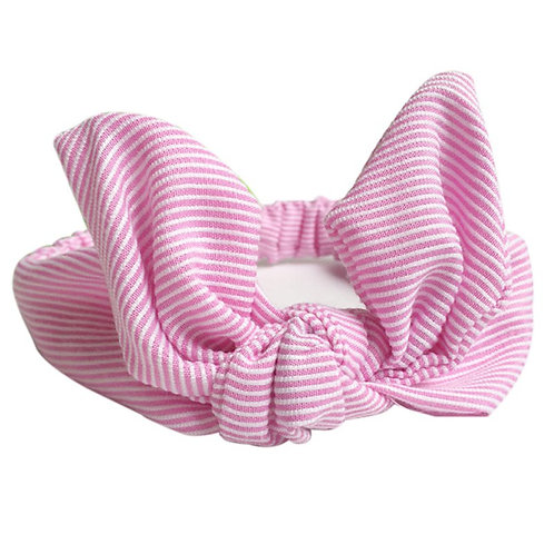 Striped Pink Bowknot Baby Hair Band