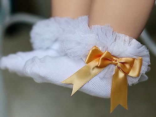 White & Gold Tutu Socks