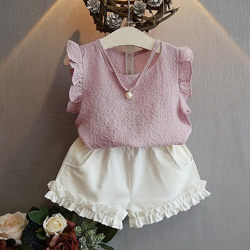 Ruffles & Pearls Blush Blouse & Shorts Set