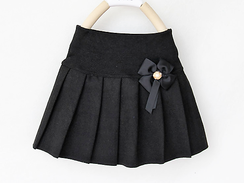 Head of the Class Black Wool Blend Pleated Skirt