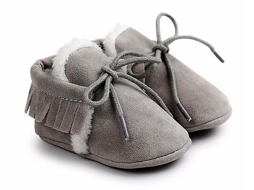 Grey Fleece Lined Suede Slippers