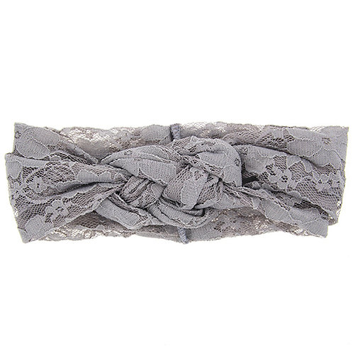 Grey Double Knot Lace Baby Hair Band