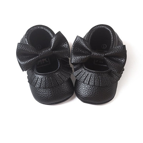 Tassle & Bowknot Black Leather Crib Shoes