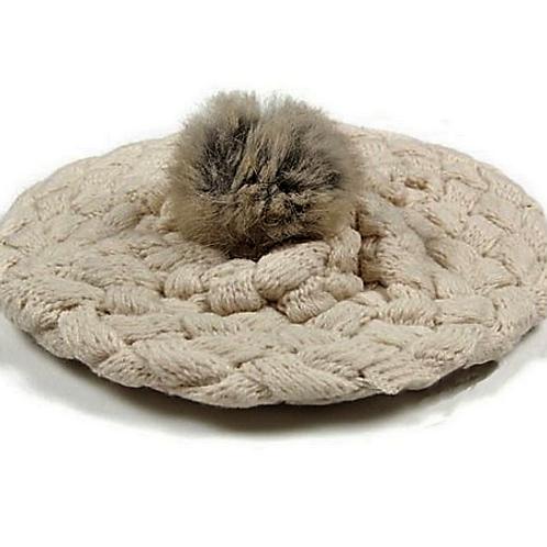 Cream Fur Pom Pom Crochet Beret