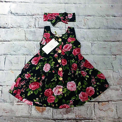 Eden Floral Swing Dress & Headband