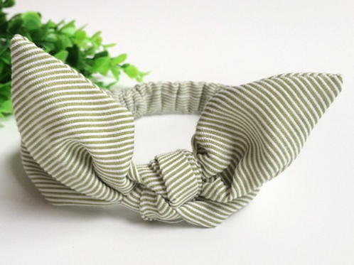 Striped Green Bowknot Baby Hair Band