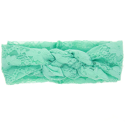 Mint Double Knot Lace Baby Hair Band