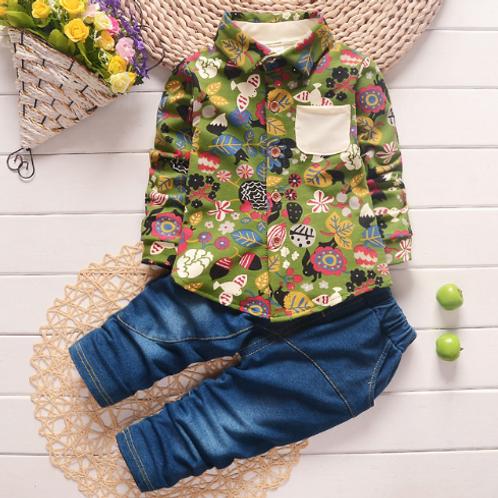 Spring Fever Green Shirt & Graffiti Jeans Set