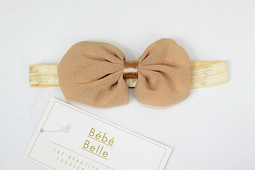 Beige Riley Bow Hair Band