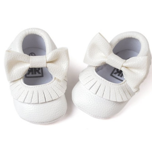 Tassle & Bowknot White Leather Crib Shoes