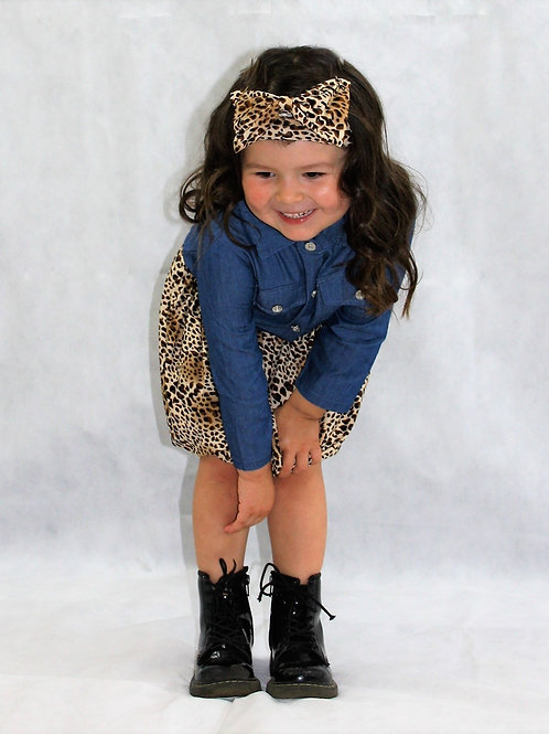 Kibibi Leopard Print Skirt, Headband and Denim Shirt Set