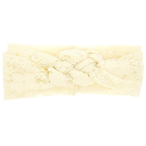 Cream Double Knot Lace Baby Hair Band