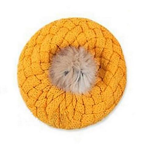 Mustard Fur Pom Pom Crochet Beret