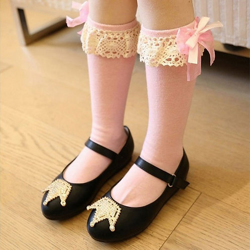 Pink Organza & Cotton Knee High Socks