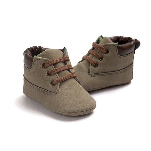 Suede & Leather Brown Ankle Boot Crib Shoes