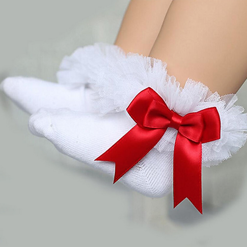 White & Red Tutu Socks