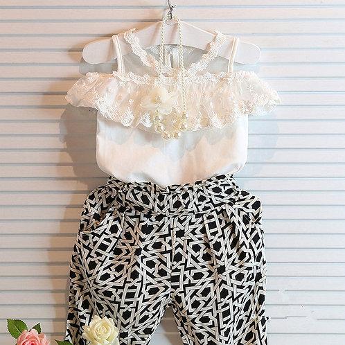Lace Floral Top & Check Pants Set