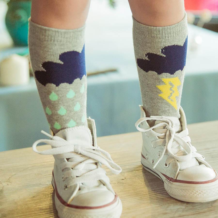 Bébé Belle Cute Cotton Grey Rainstorm Knee High Socks