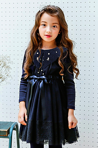Anastasia Dress in Navy Blue