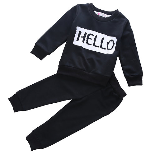 'Hello' & 'Bye' Sweater & Trouser Set