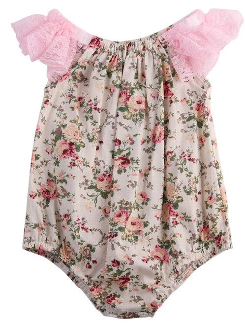 Vintage Floral & Pink Lace Vest