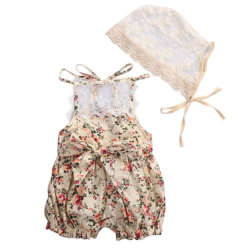 Love & Lace Floral Romper & Bonnet Set