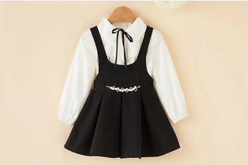 Westridge White Frill Blouse & Black Suede Pinafore Charm Dress
