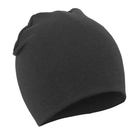 Black Cotton Beanie Hat