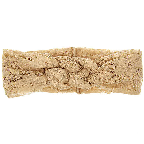 Beige Double Knot Lace Baby Hair Band