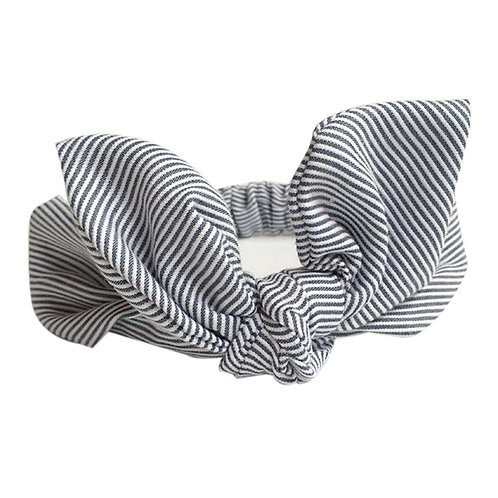 Striped Grey Bowknot Baby Hair Band