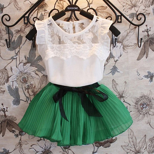 Chiffon & Lace Blair Blouse & Pleated Bow Skirt